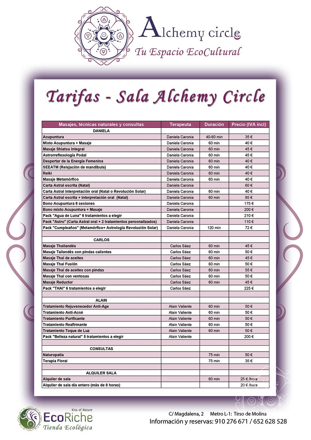Tarifas Sala Alchemy Circle